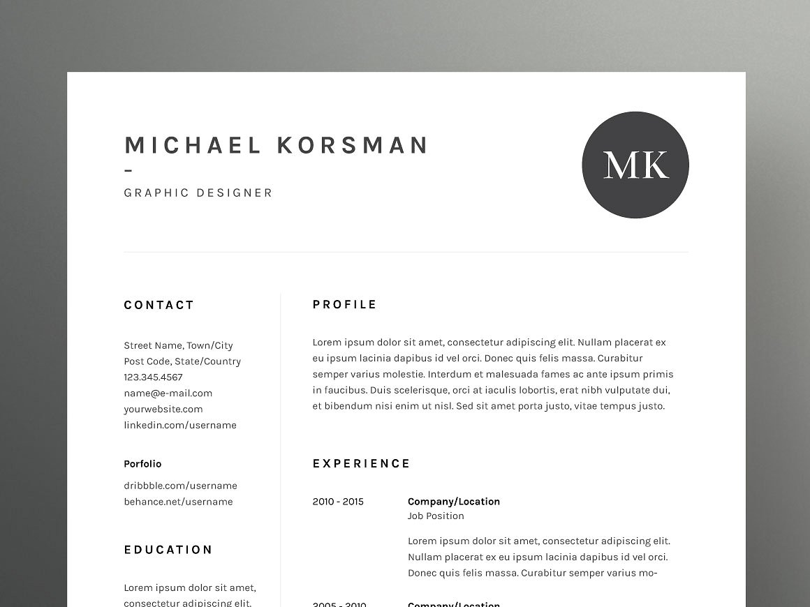 Michael Korsman Resume Cv Template