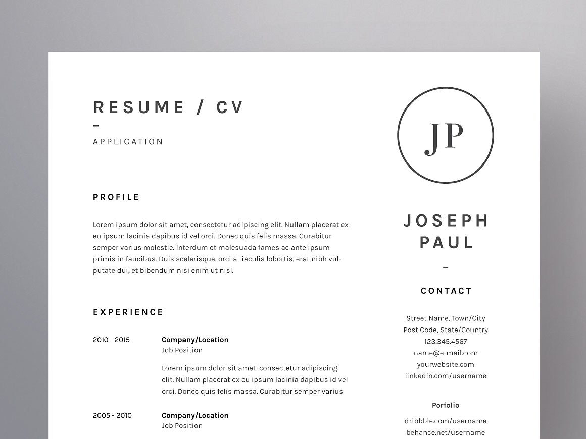 Joseph Paul Resume Cv Template