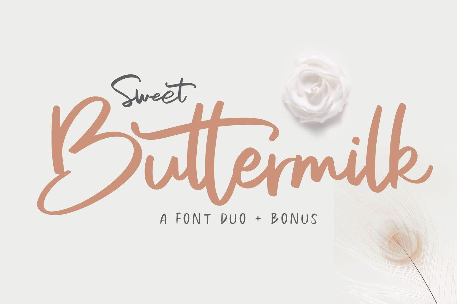 Sweet Buttermilk - Font Duo + Bonus - 001 21 -