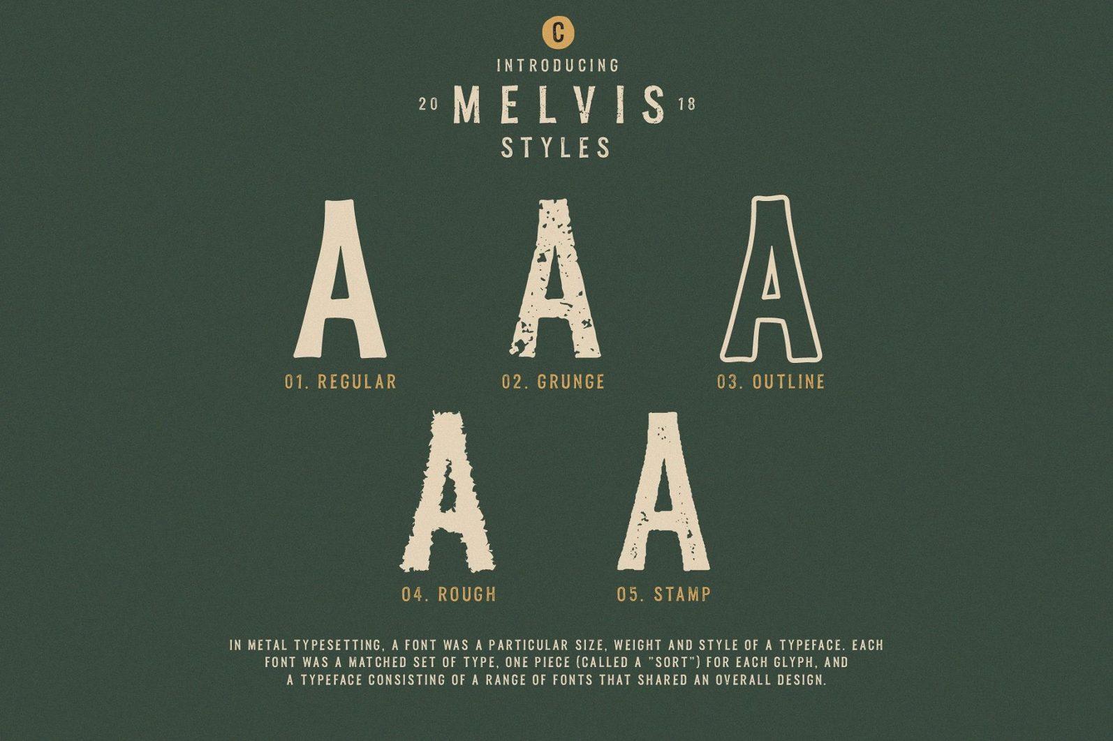 Melvis - Vintage Font Family+Extras - artboard 3 -