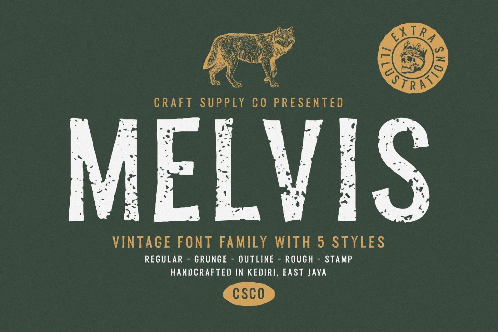 Melvis - Vintage Font Family+Extras - artboard 1 2 -