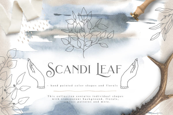 """<span style=""""display: none"""">Marketplace for Fonts, SVG files, Lightroom Presets and more</span> - Scandi Leaf first image -"""