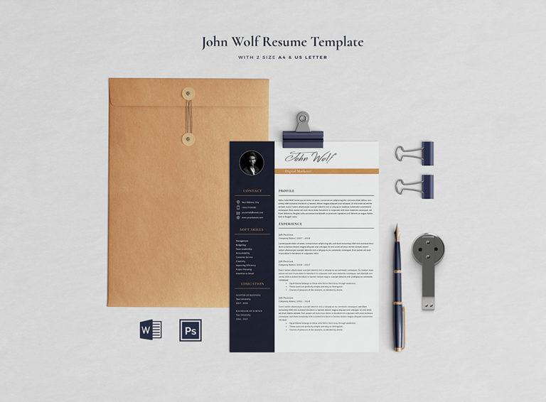 John Taslim - Resume/CV Template - Preview Page 01 -