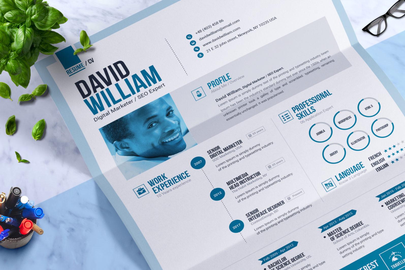 Resume Template - 01 Professional resume builder ms word resume design template -