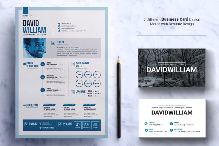 Resume Template - 02 Resume with business card design template -