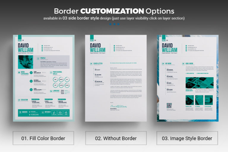 Resume Template - 14 Resume border customization option -