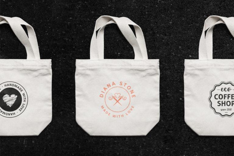 30 Premade Logos – Feminine Edition - Small Canvas Tote Bag MockUp -