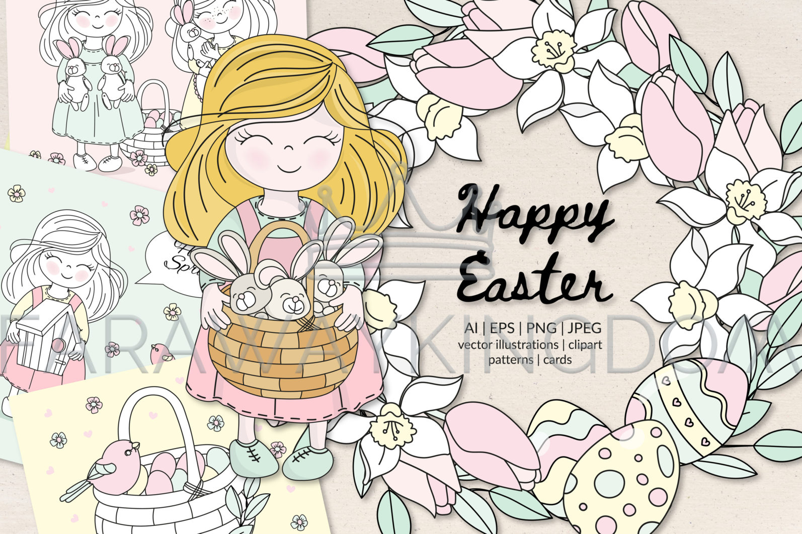 HAPPY EASTER Seamless Pattern Wreath Clip Art Greeting Card Vector Illustration Set - HAPPY EASTER Cover 1 scaled -