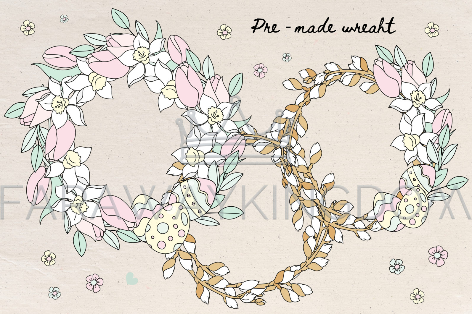 HAPPY EASTER Seamless Pattern Wreath Clip Art Greeting Card Vector Illustration Set - HAPPY EASTER Cover 5 scaled -