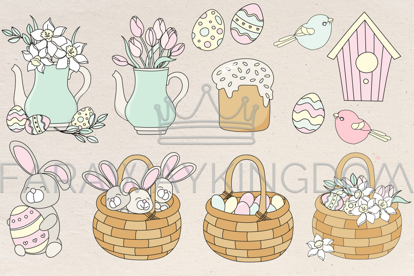 HAPPY EASTER Seamless Pattern Wreath Clip Art Greeting Card Vector Illustration Set - HAPPY EASTER Cover 9 scaled -