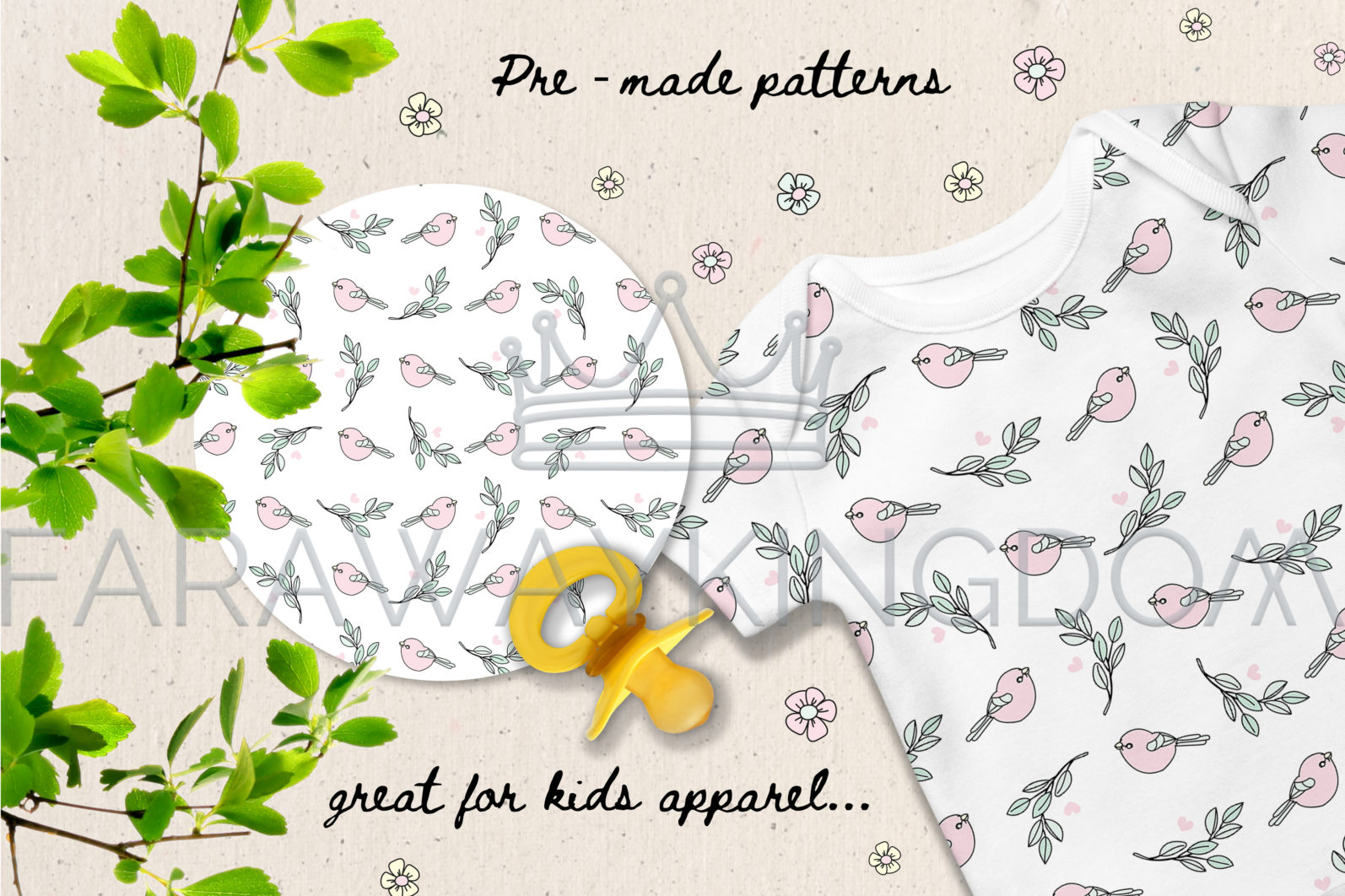 HAPPY EASTER Seamless Pattern Wreath Clip Art Greeting Card Vector Illustration Set - HAPPY EASTER Cover 10 scaled -
