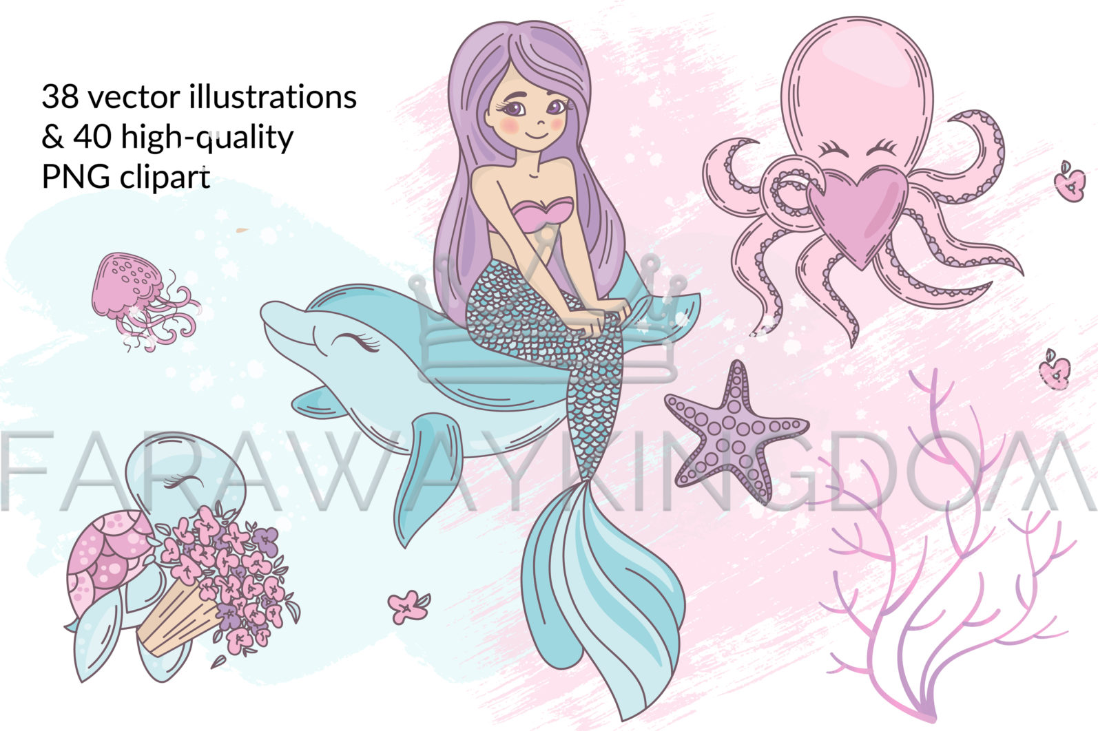 MERMAID IN LOVE Underwater Tropical Travel Cruise Vacation Summer Vector Illustration - 237 scaled -