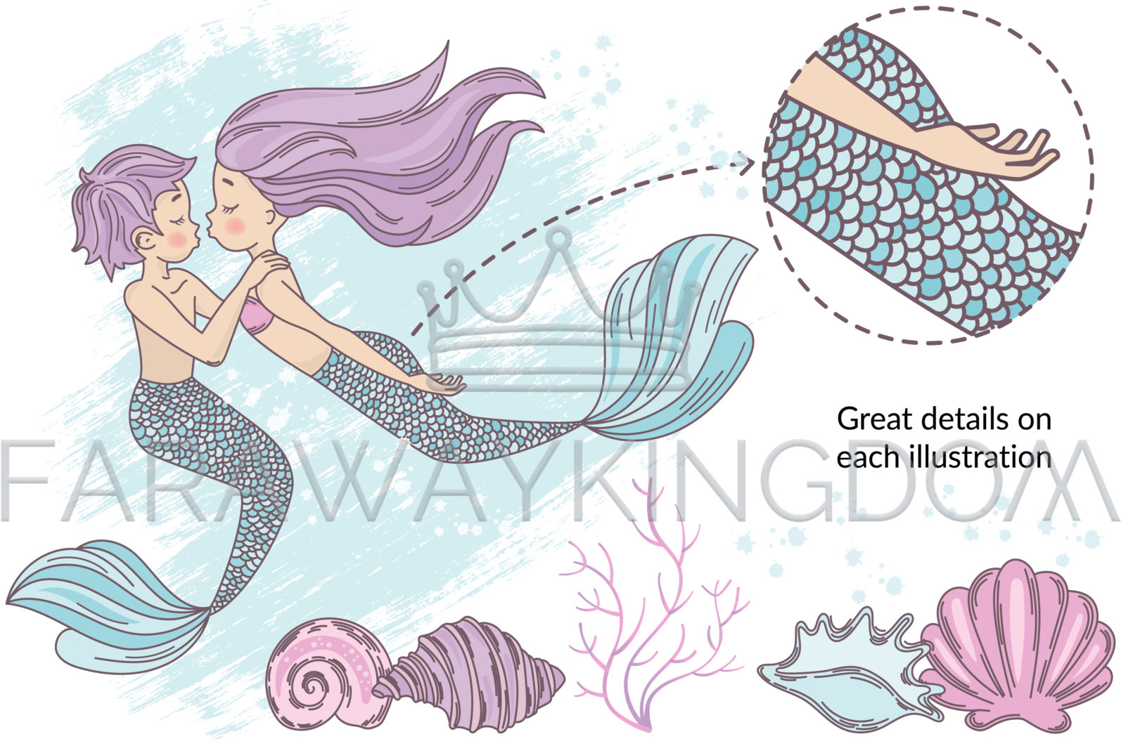 MERMAID IN LOVE Underwater Tropical Travel Cruise Vacation Summer Vector Illustration - 340 scaled -