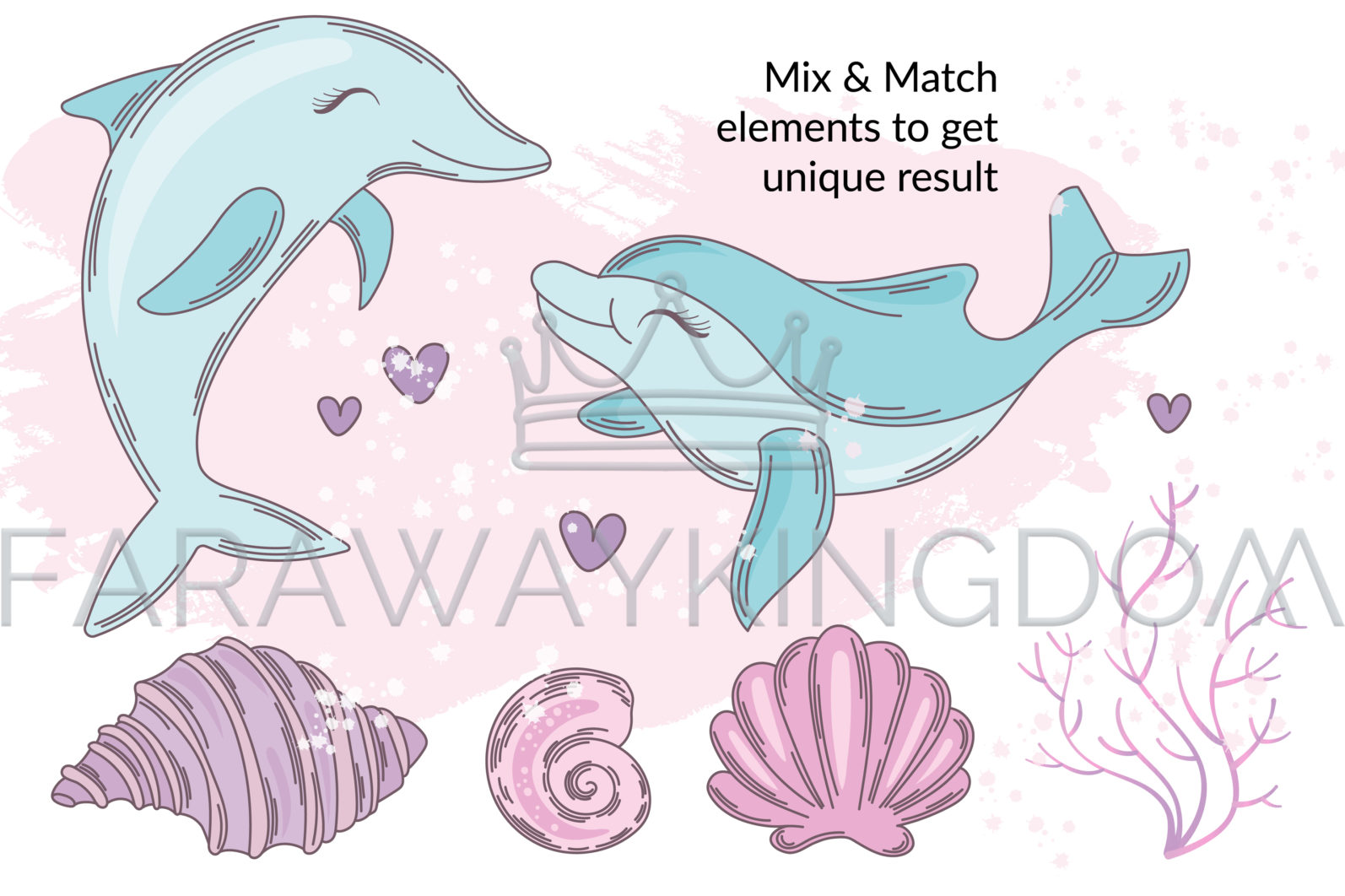 MERMAID IN LOVE Underwater Tropical Travel Cruise Vacation Summer Vector Illustration - 527 scaled -