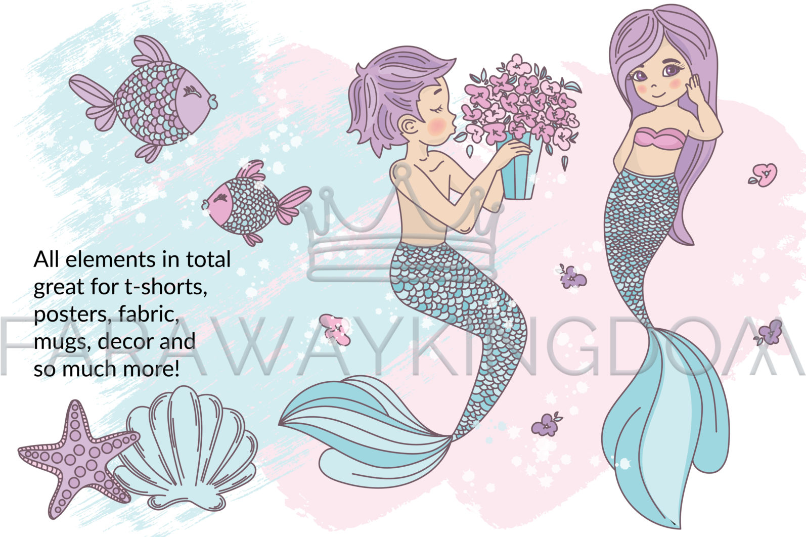MERMAID IN LOVE Underwater Tropical Travel Cruise Vacation Summer Vector Illustration - 626 scaled -