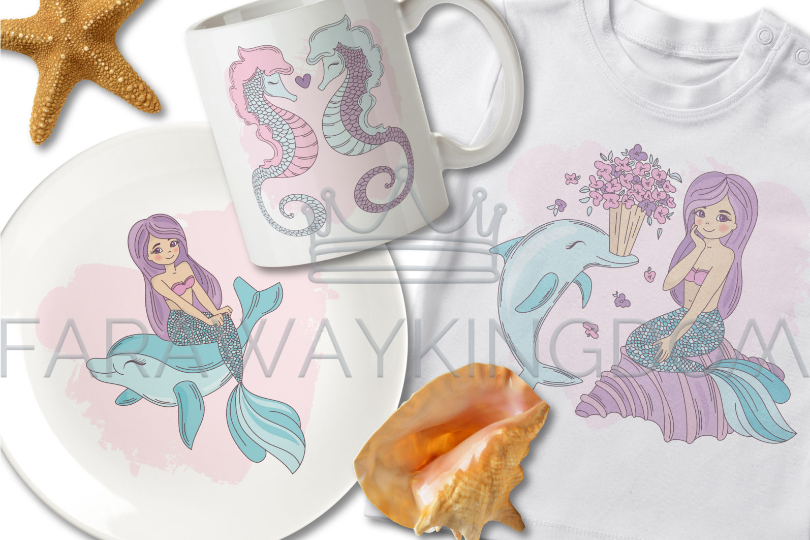 MERMAID IN LOVE Underwater Tropical Travel Cruise Vacation Summer Vector Illustration - 723 scaled -