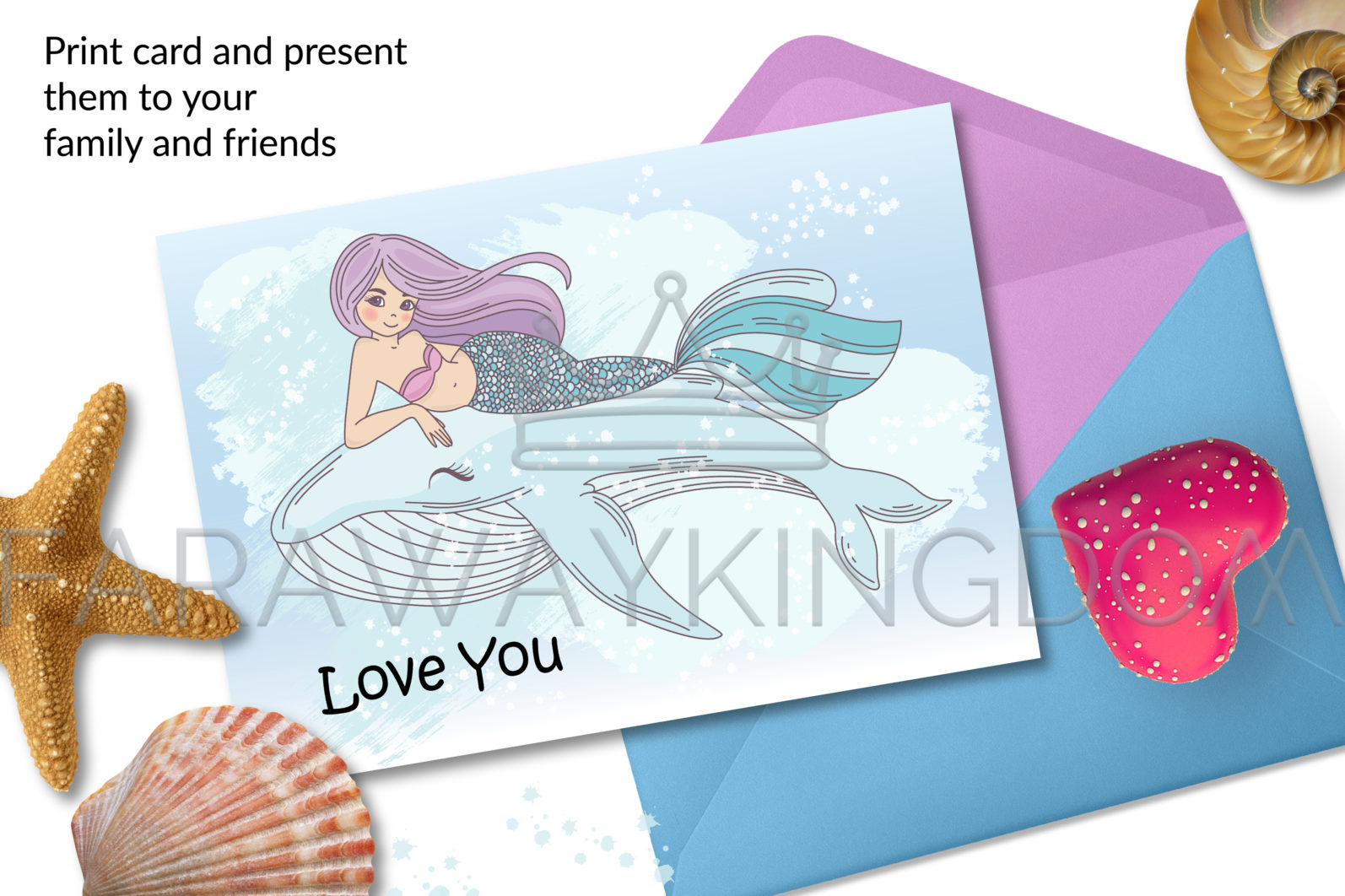 MERMAID IN LOVE Underwater Tropical Travel Cruise Vacation Summer Vector Illustration - 817 scaled -