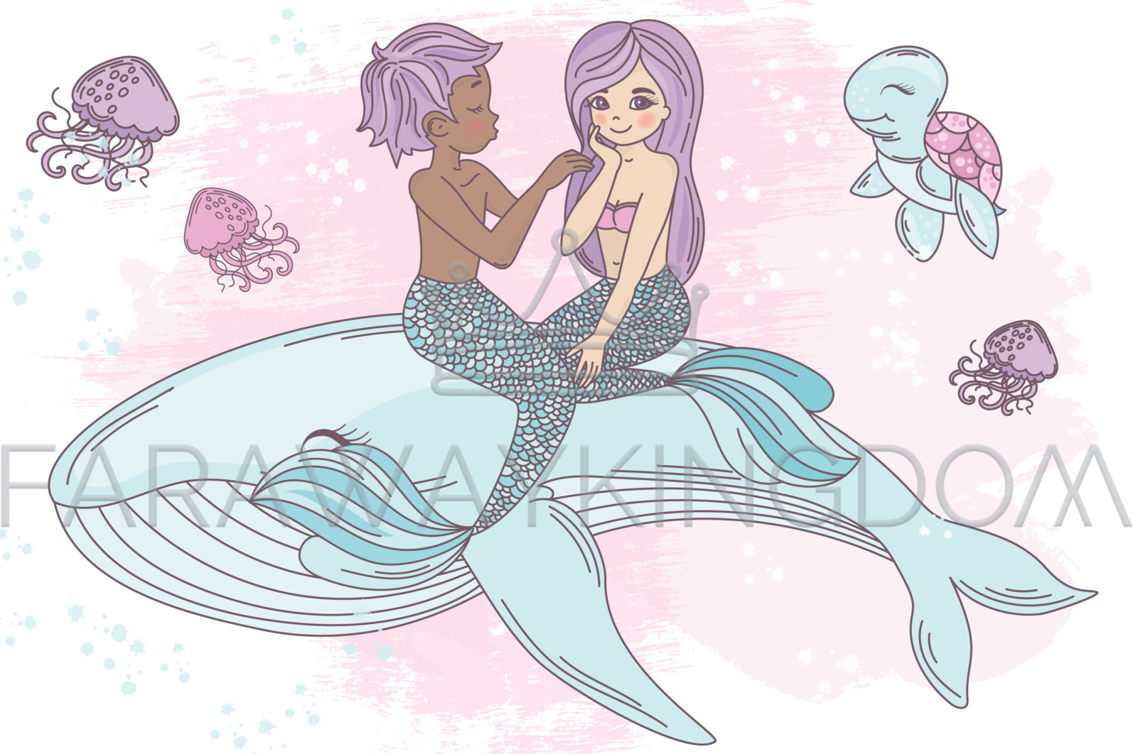 MERMAID IN LOVE Underwater Tropical Travel Cruise Vacation Summer Vector Illustration - 913 scaled -