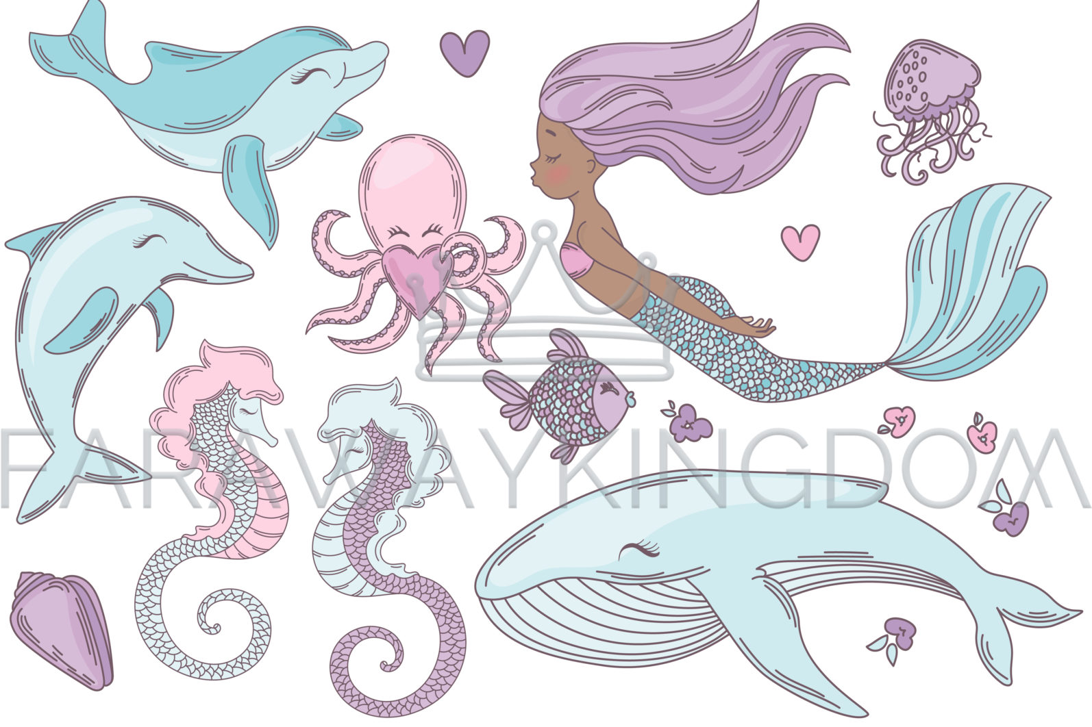 MERMAID IN LOVE Underwater Tropical Travel Cruise Vacation Summer Vector Illustration - 1211 scaled -