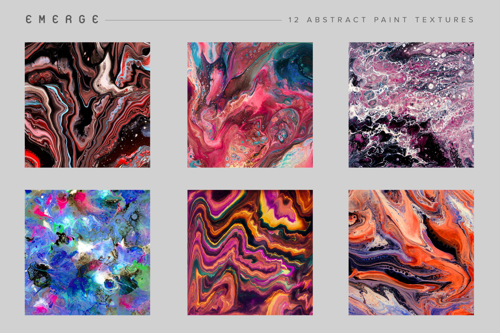 Emerge: 12 Abstract Paint Textures - 11 Emerge preview grid 01 06 -