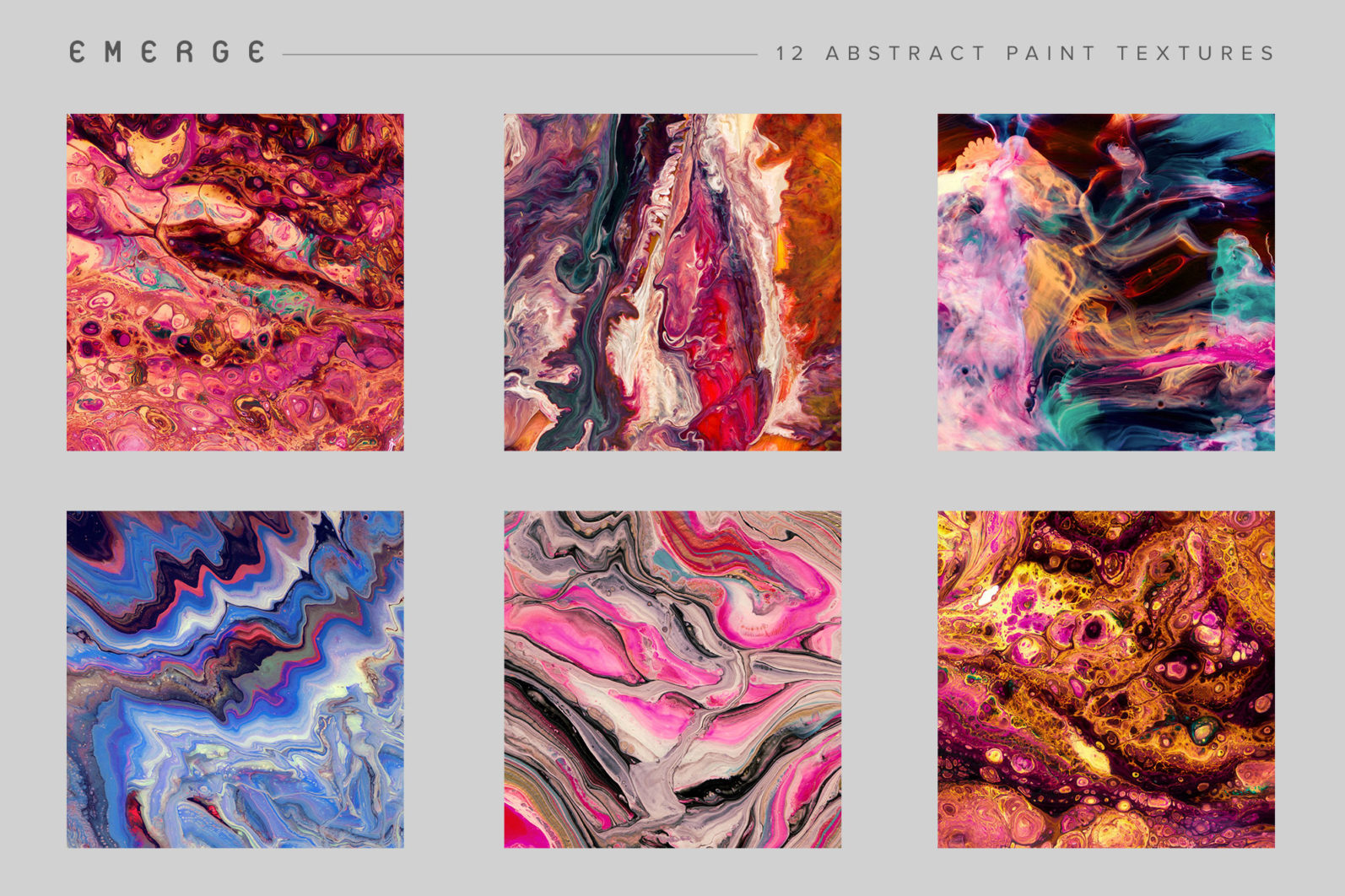 Emerge: 12 Abstract Paint Textures - 12 Emerge preview grid 07 12 -