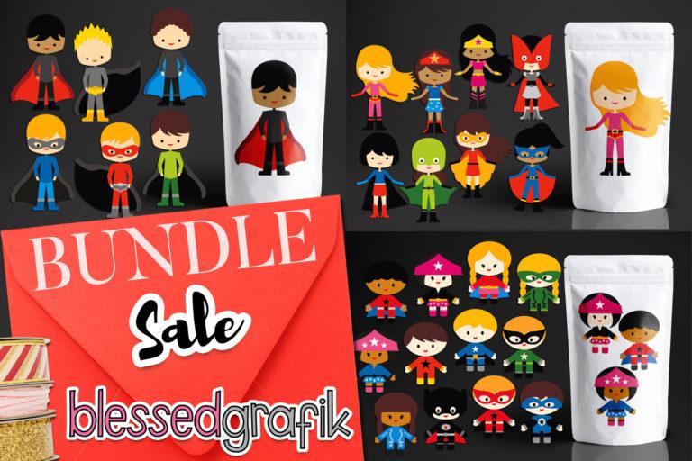 Kids Superhero Illustration Bundle - BlessedGrafikMGB181SuperheroFantastic -