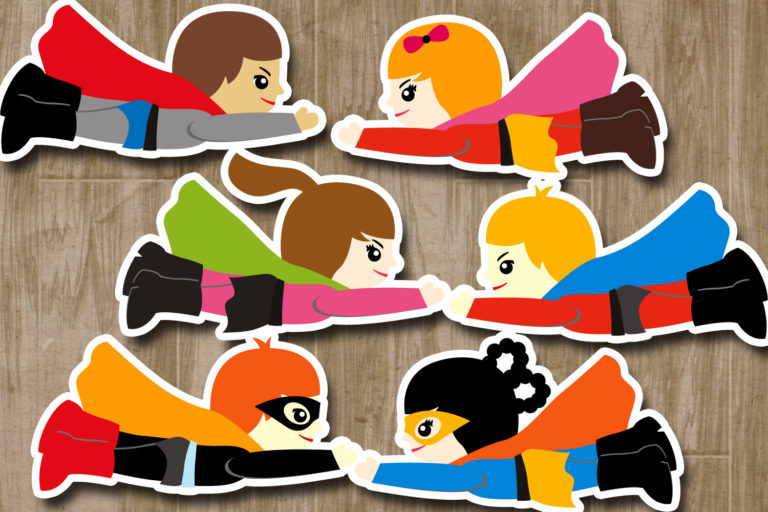 Flying Superhero Illustrations Bundle - BlessedGrafikClipartCuteFlyingSUperhero -