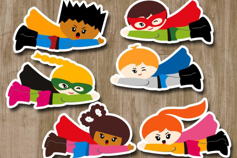 Flying Superhero Illustrations Bundle - BlessedGrafikClipartFlyingSuperheroEmotion -