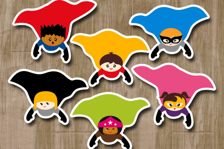 Flying Superhero Illustrations Bundle - BlessedGrafikClipartSuperheroFLyingCape -
