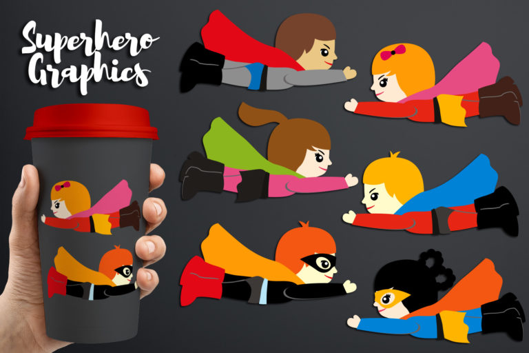 Flying Superhero Illustrations Bundle - BlessedGrafikDBCuteFlyingSuperhero -