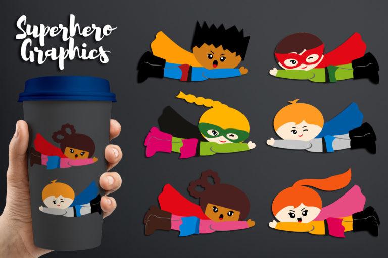 Flying Superhero Illustrations Bundle - BlessedGrafikDBFlyingSuperheroEmotion -