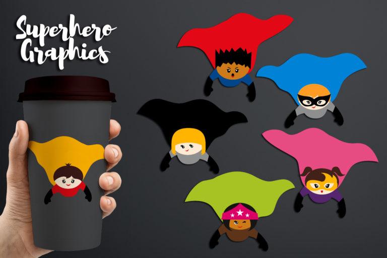 Flying Superhero Illustrations Bundle - BlessedGrafikDBSuperheroFlyingCape -