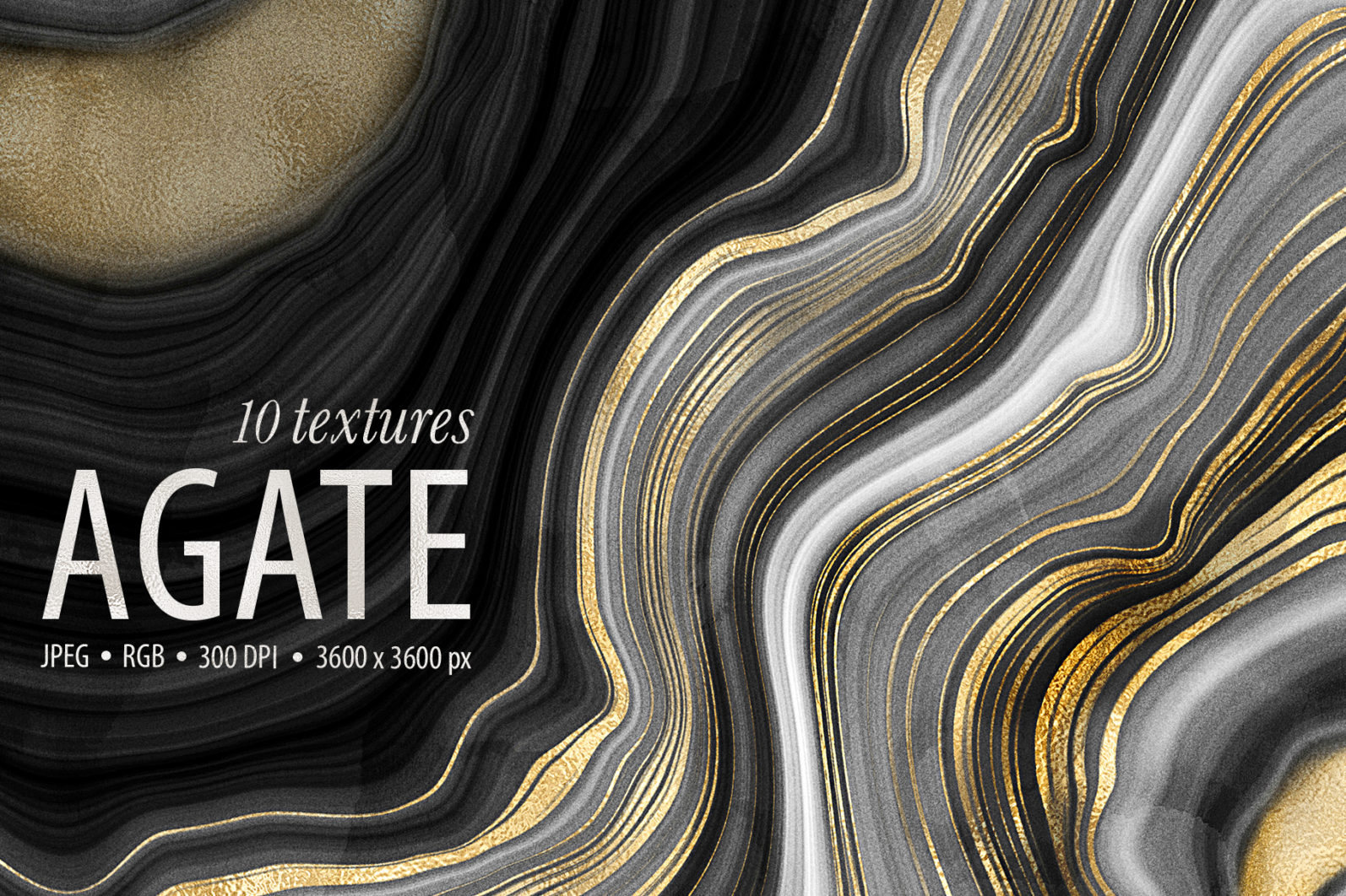 10 Agate Stone Digital Papers - Gold Veined Geode Textures - 01 -