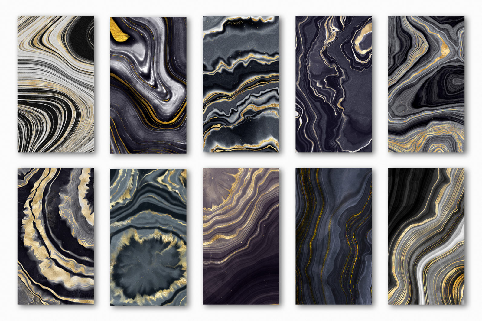 10 Agate Stone Digital Papers - Gold Veined Geode Textures - 02 agate digital papers -