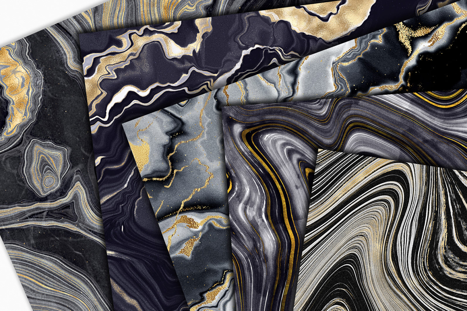 10 Agate Stone Digital Papers - Gold Veined Geode Textures - 03 agate backgrounds -
