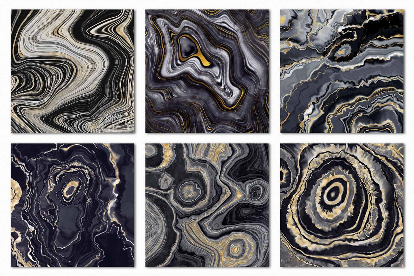 10 Agate Stone Digital Papers - Gold Veined Geode Textures - 15 gemstone digital papers -