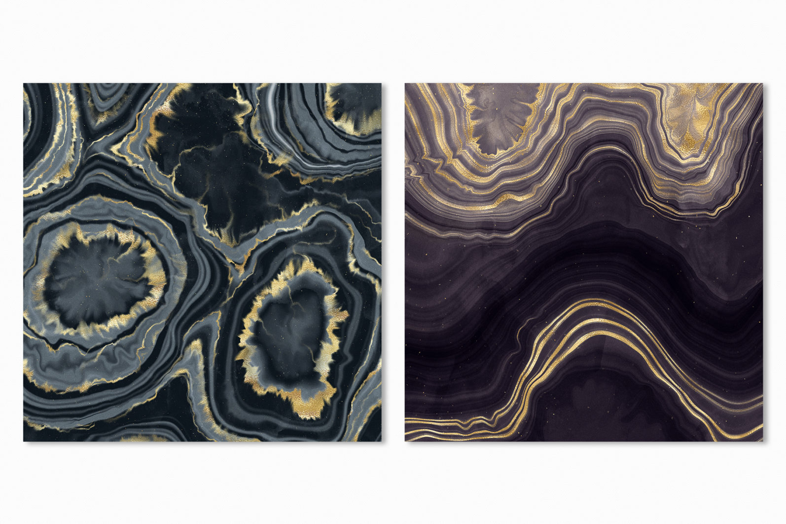10 Agate Stone Digital Papers - Gold Veined Geode Textures - 16 agate stone backgrounds -