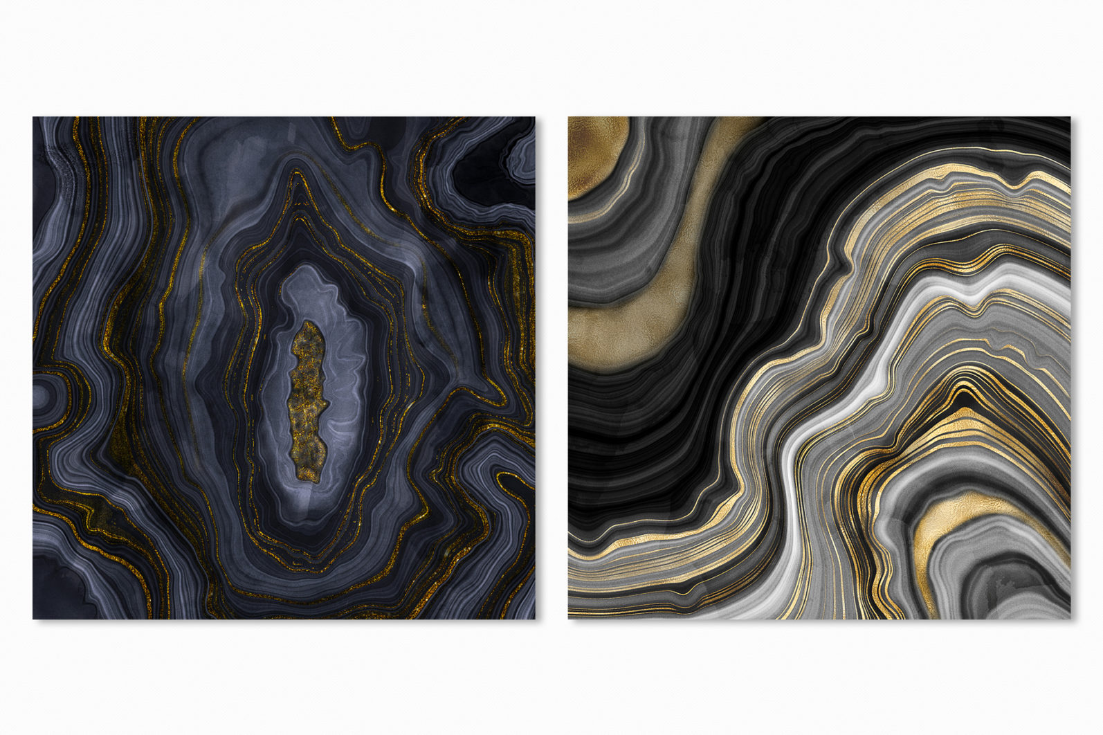 10 Agate Stone Digital Papers - Gold Veined Geode Textures - 17 -
