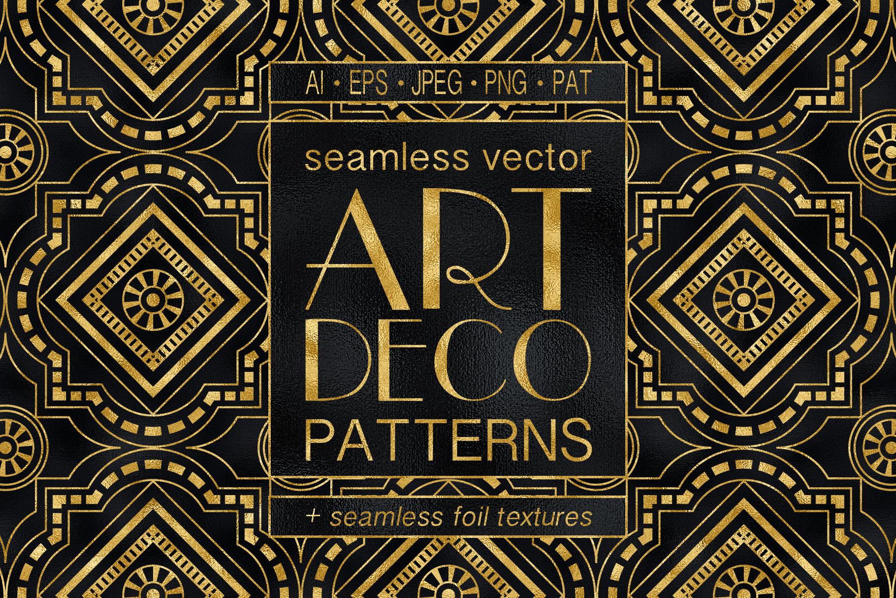 Geometric Art Deco Patterns - 20 Seamless Vector Patterns ...