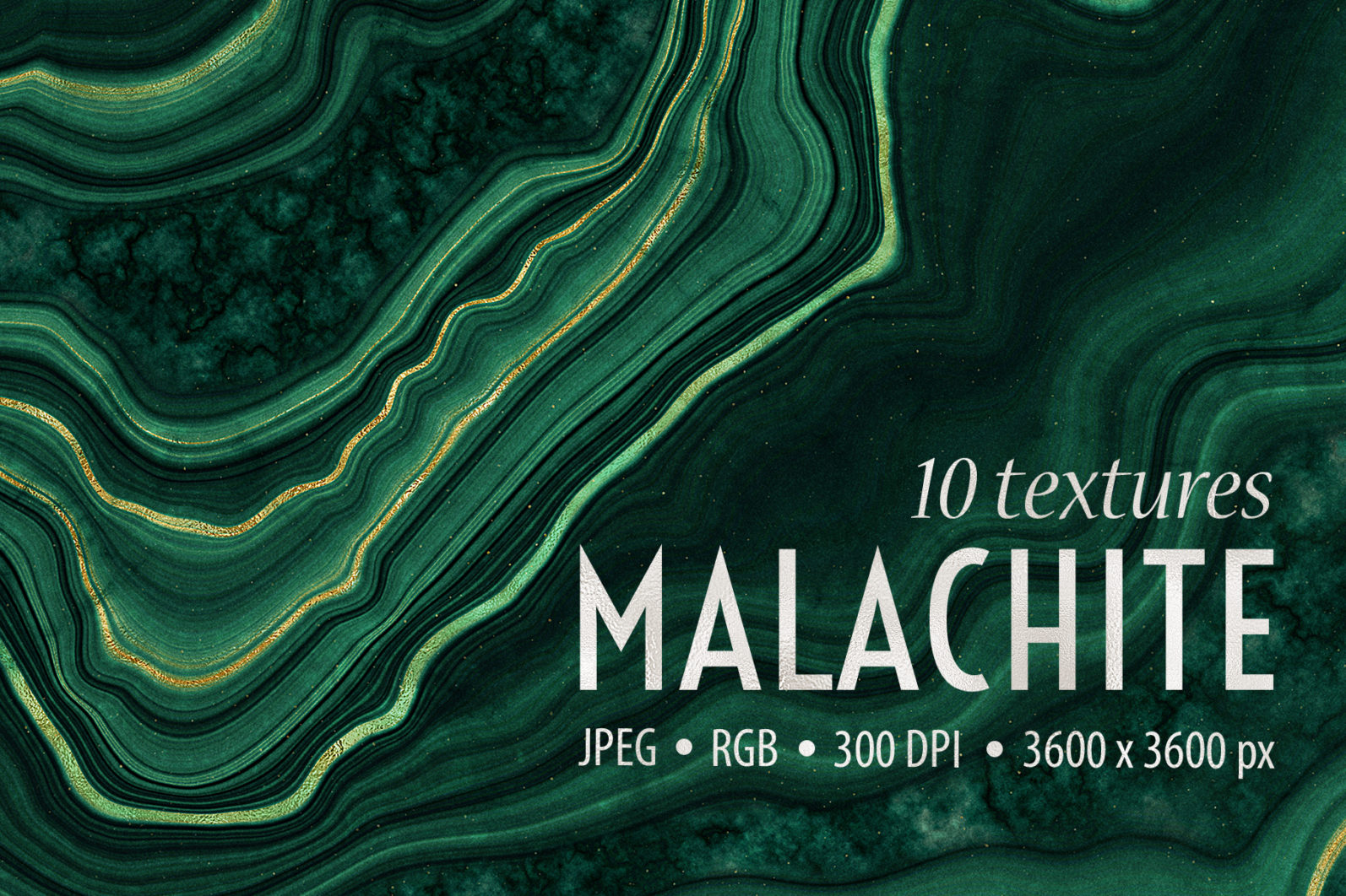 10 Malachite & Gold Mineral Textures - Green Geode Backgrounds - 01 -