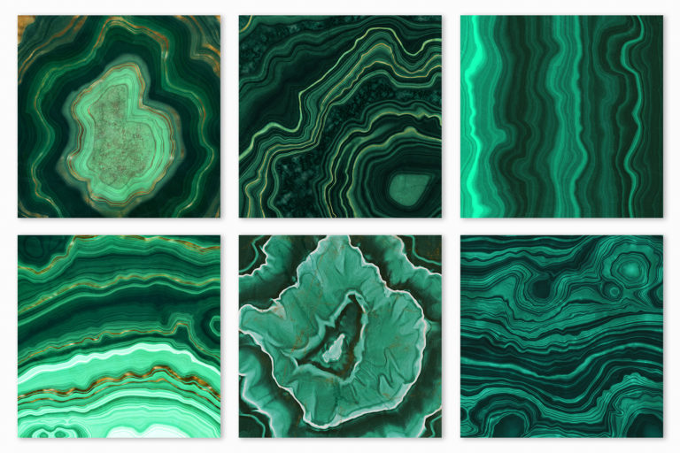 10 Malachite & Gold Mineral Textures - Green Geode Backgrounds - 04 -