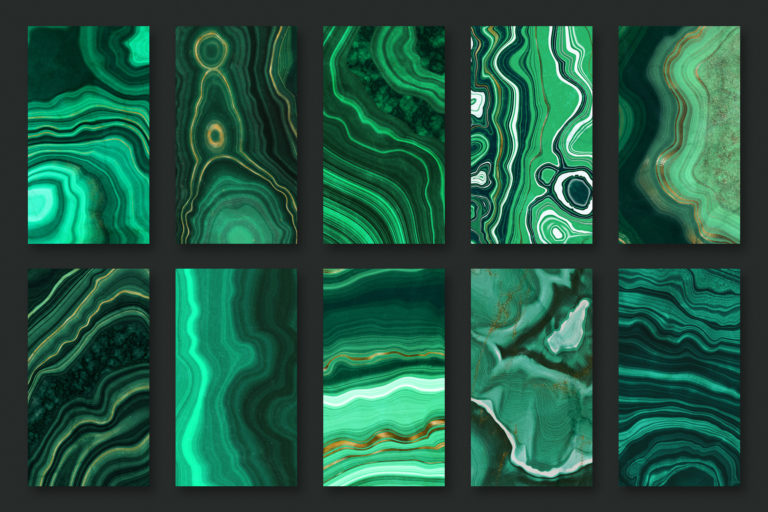 10 Malachite & Gold Mineral Textures - Green Geode Backgrounds - 11 -