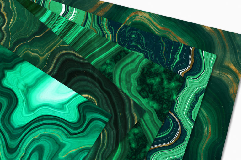 10 Malachite & Gold Mineral Textures - Green Geode Backgrounds - 12 -