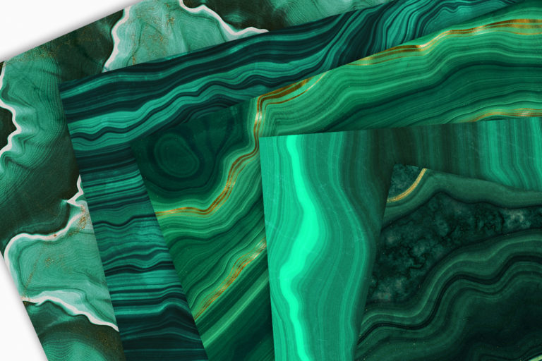 10 Malachite & Gold Mineral Textures - Green Geode Backgrounds - 13 -