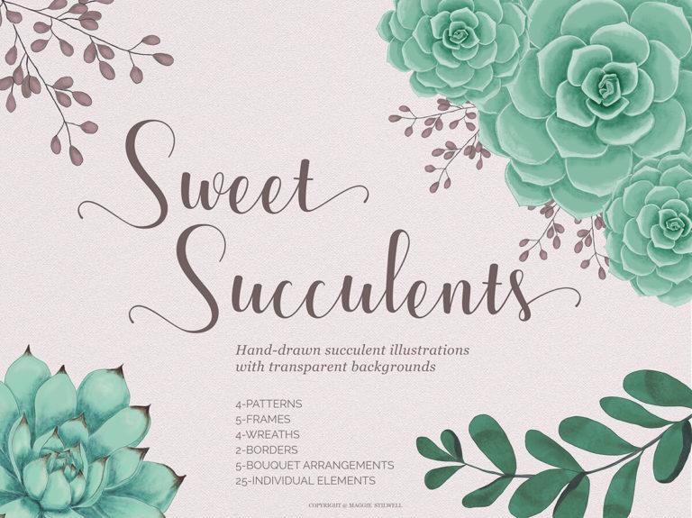 Sweet Succulents Design Set - title page -