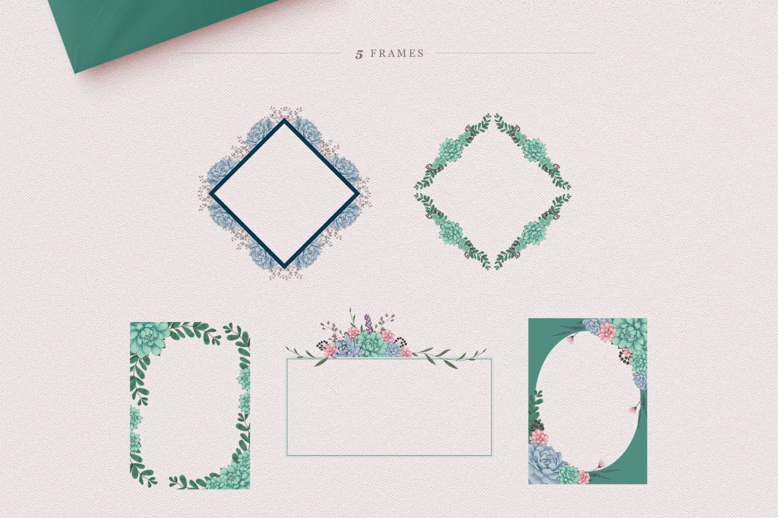 Sweet Succulents Design Set - sweet succulents frames borders -