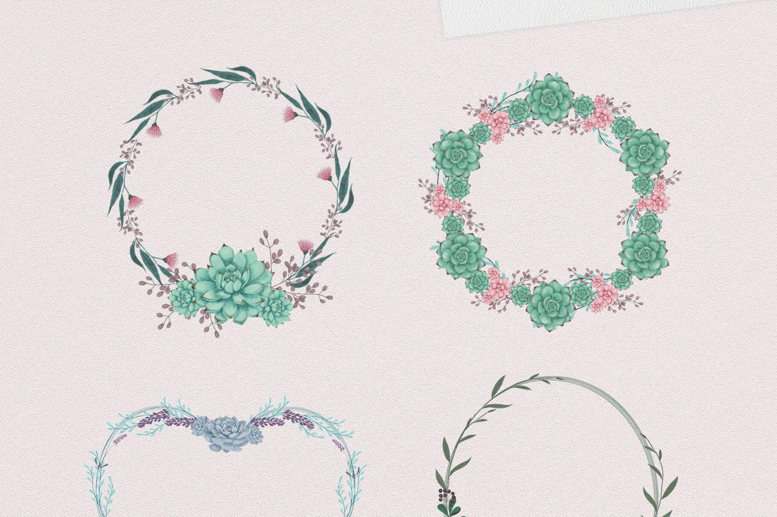 Sweet Succulents Design Set - sweet succulents wreaths -