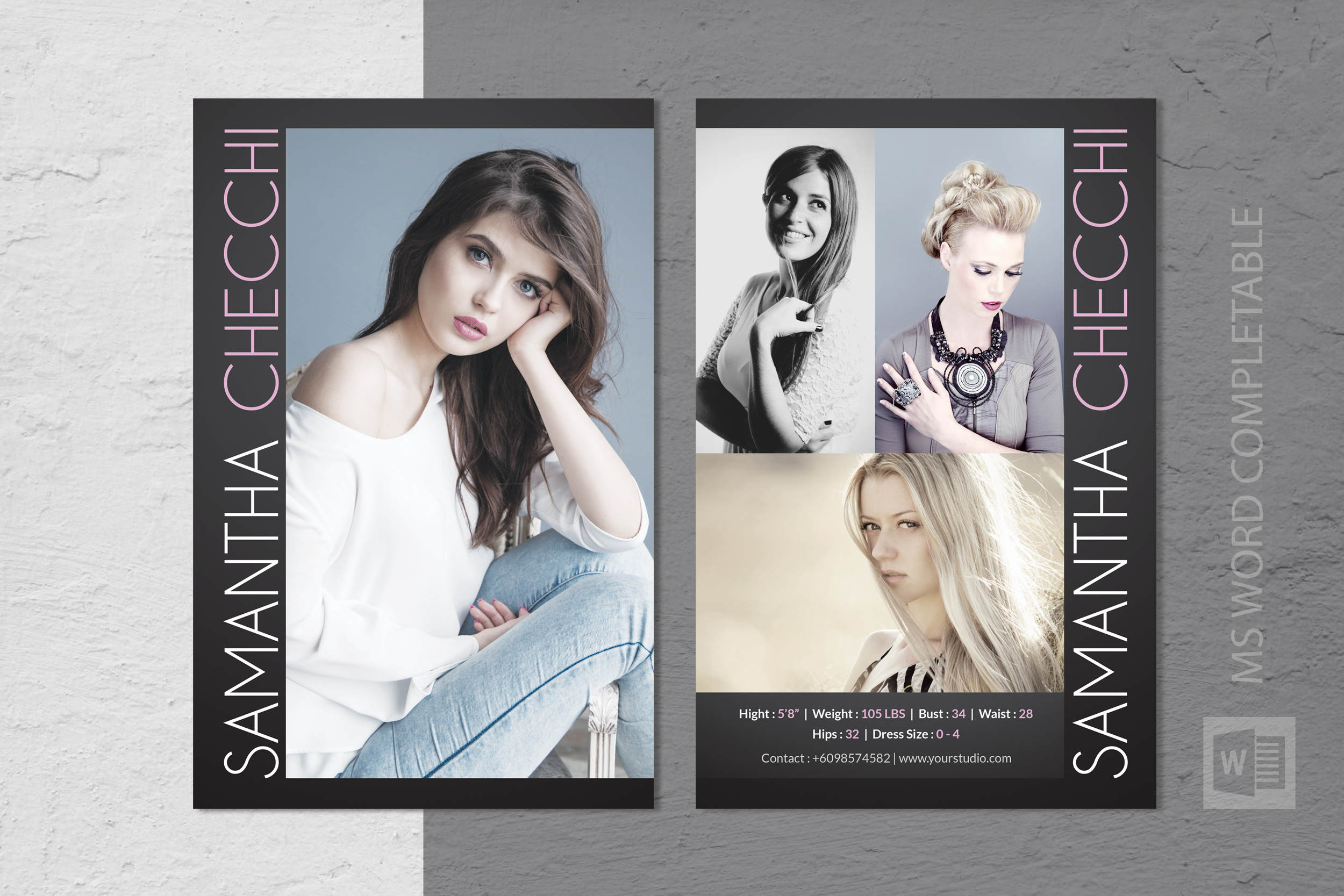 Fashion Modeling Comp Card Template With Comp Card Template Psd