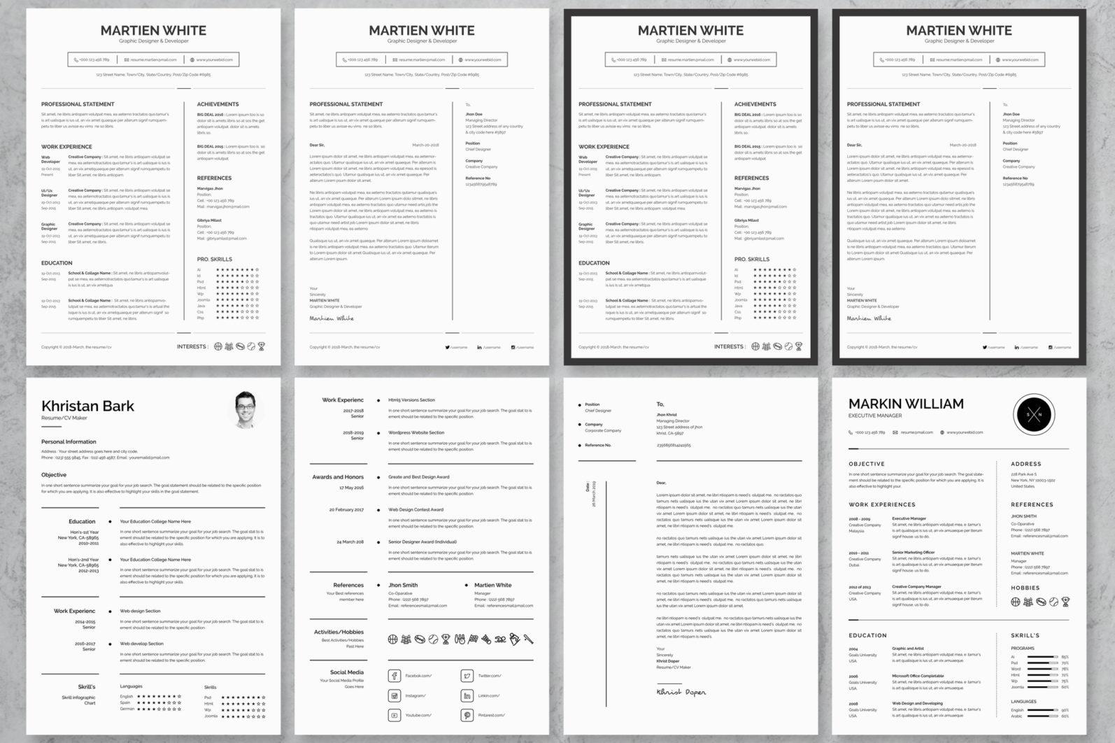 40+ Word Resume/Cv Template Big Bundle - 193 -