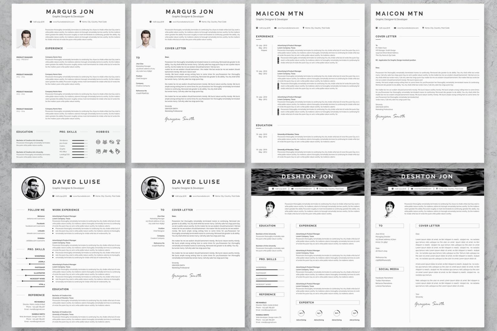 40+ Word Resume/Cv Template Big Bundle - 1216 -